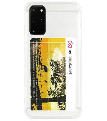 ADEL Siliconen Back Cover Softcase Hoesje voor Samsung Galaxy S20 Plus - Pasjeshouder Doorzichtig