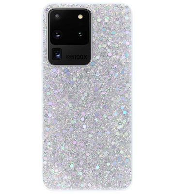 ADEL Premium Siliconen Back Cover Softcase Hoesje voor Samsung Galaxy S20 Ultra - Bling Bling Glitter Zilver