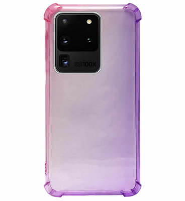 ADEL Siliconen Back Cover Softcase Hoesje voor Samsung Galaxy S20 Ultra - Kleurovergang Roze Paars
