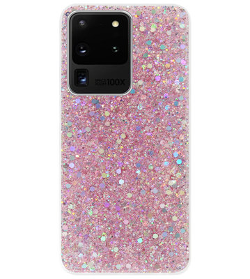ADEL Premium Siliconen Back Cover Softcase Hoesje voor Samsung Galaxy S20 Ultra - Bling Bling Roze