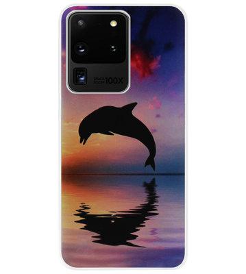 ADEL Kunststof Back Cover Hardcase Hoesje voor Samsung Galaxy S20 Ultra - Dolfijn Blauw