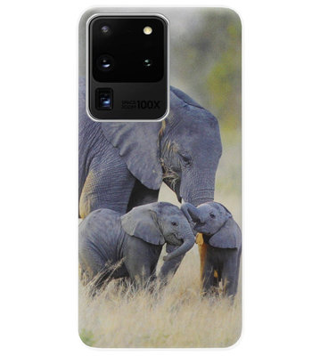 ADEL Siliconen Back Cover Softcase Hoesje voor Samsung Galaxy S20 Ultra - Olifant Familie
