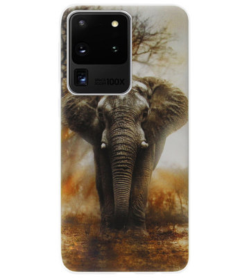 ADEL Siliconen Back Cover Softcase Hoesje voor Samsung Galaxy S20 Ultra - Olifanten