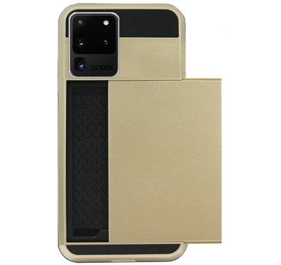 ADEL Kunststof Back Cover Hardcase Hoesje voor Samsung Galaxy S20 Ultra - Pasjeshouder Goud