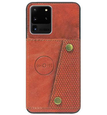 ADEL Kunstleren Back Cover Pasjeshouder Hoesje voor Samsung Galaxy S20 Ultra - Bruin