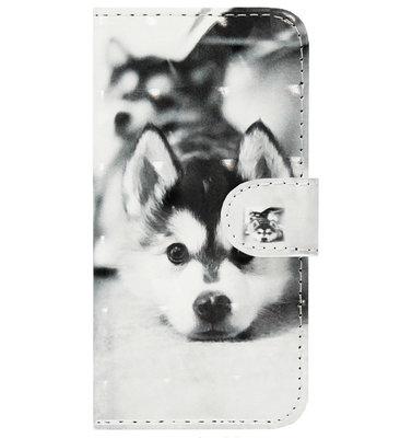 ADEL Kunstleren Book Case Pasjes Portemonnee Hoesje voor Samsung Galaxy S20 Ultra - Hond Liggend