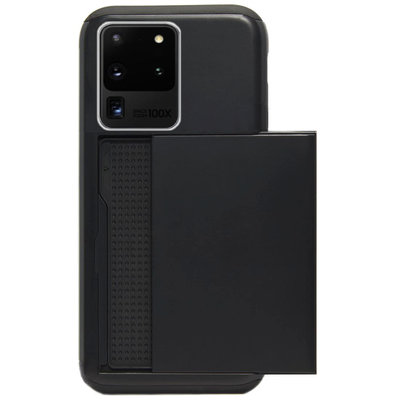 ADEL Kunststof Back Cover Hardcase Hoesje voor Samsung Galaxy S20 Ultra - Pasjeshouder Zwart