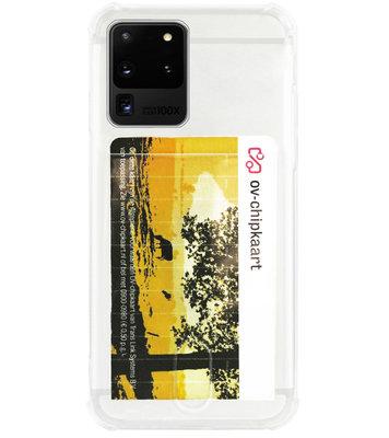 ADEL Siliconen Back Cover Softcase Hoesje voor Samsung Galaxy S20 Ultra - Pasjeshouder Doorzichtig
