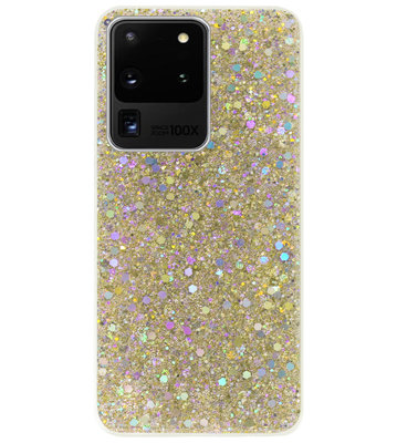 ADEL Premium Siliconen Back Cover Softcase Hoesje voor Samsung Galaxy S20 Ultra - Bling Bling Glitter Goud