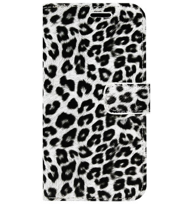 ADEL Kunstleren Book Case Pasjes Portemonnee Hoesje voor Samsung Galaxy S20 - Luipaard Wit
