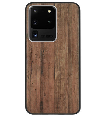 ADEL Siliconen Back Cover Softcase Hoesje voor Samsung Galaxy S20 Ultra - Hout Design