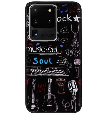 ADEL Siliconen Back Cover Softcase Hoesje voor Samsung Galaxy S20 Ultra - Muziek