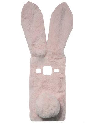 ADEL Siliconen Back Cover Softcase Hoesje voor Samsung Galaxy J3 (2015)/ J3 (2016) - Roze Konijn Pluche Stof