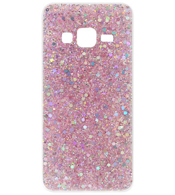 ADEL Premium Siliconen Back Cover Softcase Hoesje voor Samsung Galaxy J3 (2015)/ J3 (2016) - Bling Bling Roze