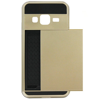 ADEL Kunststof Back Cover Hardcase Hoesje voor Samsung Galaxy J3 (2015)/ J3 (2016) - Pasjeshouder Goud