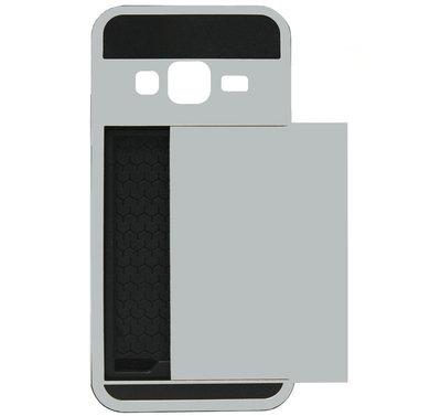ADEL Kunststof Back Cover Hardcase Hoesje voor Samsung Galaxy J3 (2015)/ J3 (2016) - Pasjeshouder Zilver