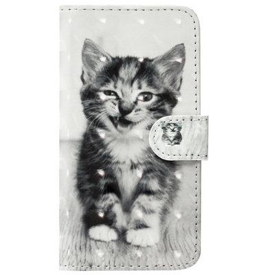 ADEL Kunstleren Book Case Pasjes Portemonnee Hoesje voor Samsung Galaxy J3 (2015)/ J3 (2016) - Kat