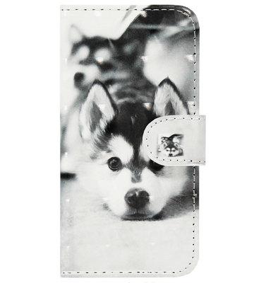 ADEL Kunstleren Book Case Pasjes Portemonnee Hoesje voor Samsung Galaxy J3 (2015)/ J3 (2016) - Hond Liggend