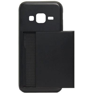 ADEL Kunststof Back Cover Hardcase Hoesje voor Samsung Galaxy J3 (2015)/ J3 (2016) - Pasjeshouder Zwart