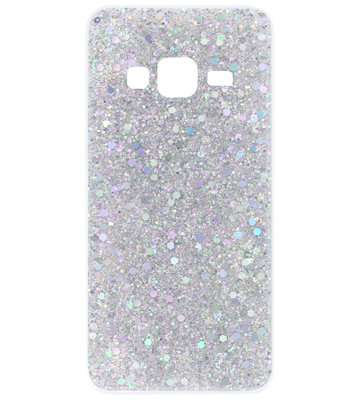 ADEL Premium Siliconen Back Cover Softcase Hoesje voor Samsung Galaxy J3 (2015)/ J3 (2016) - Bling Bling Glitter Zilver