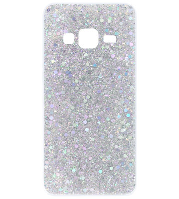 ADEL Premium Siliconen Back Cover Softcase Hoesje voor Samsung Galaxy J7 (2015) - Bling Bling Glitter Zilver