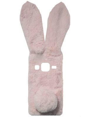 ADEL Siliconen Back Cover Softcase Hoesje voor Samsung Galaxy J7 (2015) - Roze Konijn Pluche Stof