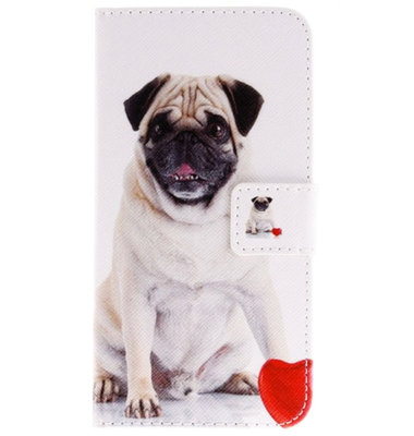 ADEL Kunstleren Book Case Pasjes Portemonnee Hoesje voor Samsung Galaxy J7 (2015) - Honden Lief