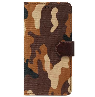 ADEL Kunstleren Book Case Pasjes Portemonnee Hoesje voor Samsung Galaxy J7 (2015) - Camouflage Bruin