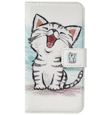 ADEL Kunstleren Book Case Pasjes Portemonnee Hoesje voor Samsung Galaxy J7 (2015) - Katten Schattig