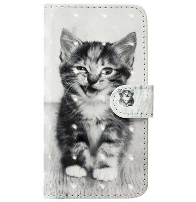 ADEL Kunstleren Book Case Pasjes Portemonnee Hoesje voor Samsung Galaxy J7 (2015) - Kat
