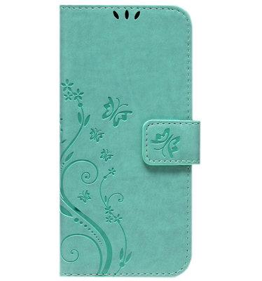 ADEL Kunstleren Book Case Pasjes Portemonnee Hoesje voor Samsung Galaxy J7 (2015) - Vlinder Groen