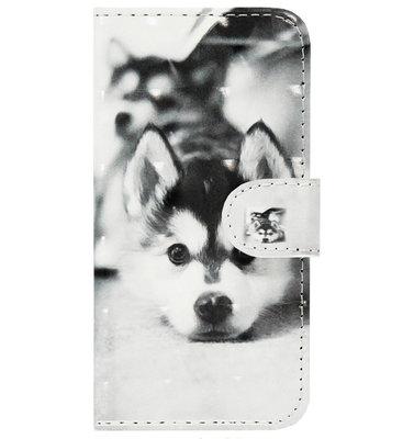 ADEL Kunstleren Book Case Pasjes Portemonnee Hoesje voor Samsung Galaxy J7 (2015) - Hond Liggend