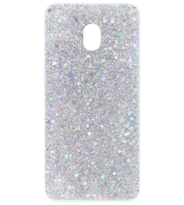 ADEL Premium Siliconen Back Cover Softcase Hoesje voor Samsung Galaxy J7 (2017) - Bling Bling Glitter Zilver