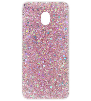 ADEL Premium Siliconen Back Cover Softcase Hoesje voor Samsung Galaxy J7 (2017) - Bling Bling Roze