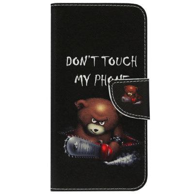 ADEL Kunstleren Book Case Pasjes Portemonnee Hoesje voor Samsung Galaxy J7 (2017) - Don't Touch My Phone Beren