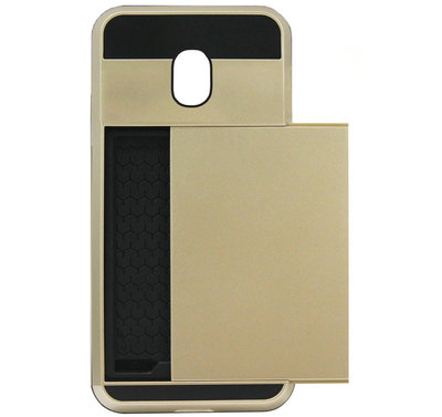 ADEL Kunststof Back Cover Hardcase Hoesje voor Samsung Galaxy J7 (2017) - Pasjeshouder Goud