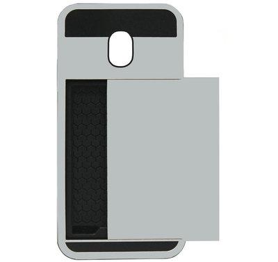 ADEL Kunststof Back Cover Hardcase Hoesje voor Samsung Galaxy J7 (2017) - Pasjeshouder Zilver