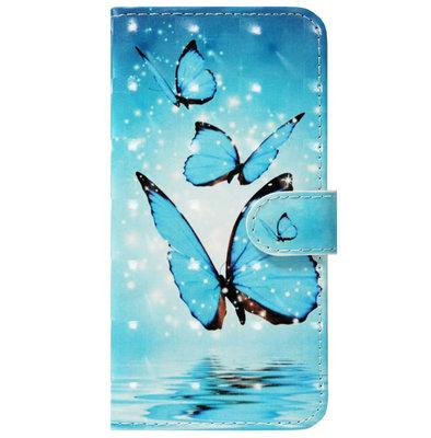 ADEL Kunstleren Book Case Pasjes Portemonnee Hoesje voor Samsung Galaxy J7 (2017) - Vlinder Blauw