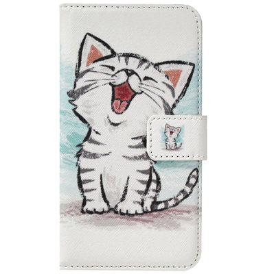ADEL Kunstleren Book Case Pasjes Portemonnee Hoesje voor Samsung Galaxy J7 (2017) - Katten Schattig