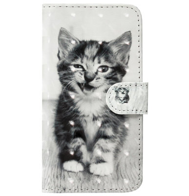 ADEL Kunstleren Book Case Pasjes Portemonnee Hoesje voor Samsung Galaxy J7 (2017) - Kat