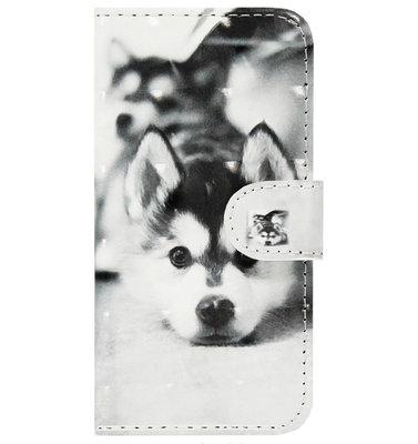 ADEL Kunstleren Book Case Pasjes Portemonnee Hoesje voor Samsung Galaxy J7 (2017) - Hond Liggend