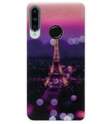 ADEL Siliconen Back Cover Softcase Hoesje voor Huawei P30 Lite - Parijs Eiffeltoren