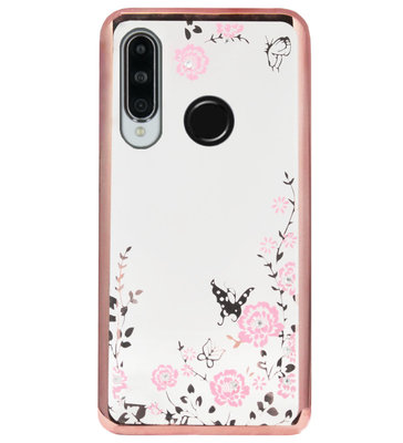 ADEL Siliconen Back Cover Softcase Hoesje voor Huawei P30 Lite - Bling Glimmend Vlinder Bloemen Roze