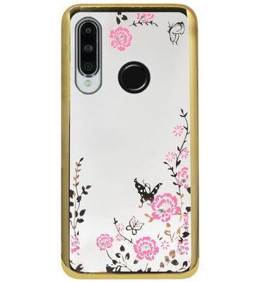 ADEL Siliconen Back Cover Softcase Hoesje voor Huawei P30 Lite - Bling Glimmend Vlinder Bloemen Goud