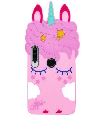 ADEL Siliconen Back Cover Softcase Hoesje voor Huawei P30 Lite - Eenhoorn Roze