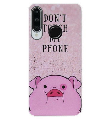 ADEL Siliconen Back Cover Softcase Hoesje voor Huawei P30 Lite - Biggetje Don't Touch My Phone