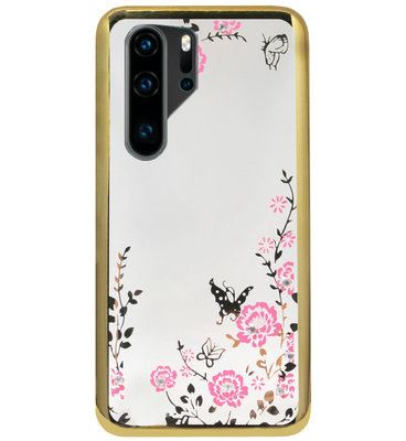 ADEL Siliconen Back Cover Softcase Hoesje voor Huawei P30 Pro - Bling Glimmend Vlinder Bloemen Goud
