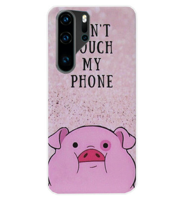 ADEL Siliconen Back Cover Softcase Hoesje voor Huawei P30 Pro - Biggetje Don't Touch My Phone