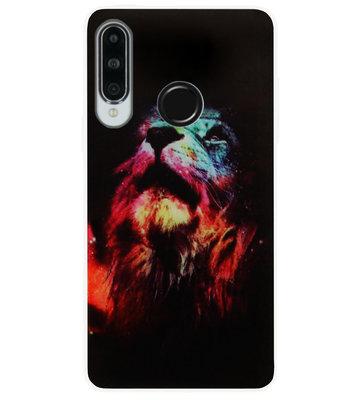 ADEL Siliconen Back Cover Softcase Hoesje voor Huawei P30 Lite - Leeuw Kleur