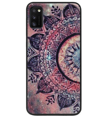 ADEL Siliconen Back Cover Softcase Hoesje voor Samsung Galaxy A41 - Mandala Bloemen Rood